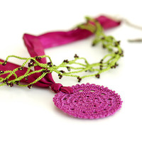 Crocheted Necklace in Green and Dark Pink by PinaraDesign on Etsy