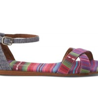Pink and Blue Chambray Stripe Mix Women's Correa Sandals
