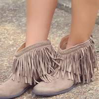 Hit The Road Fringe Taupe Ankle Booties