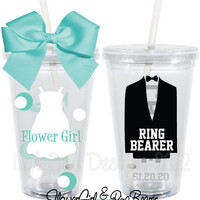 Flower Girl Ring Bearer Gift Set Wedding Personalized 16oz  Acrylic Tumbler