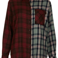 Oversize Contrast Check Shirt - New In This Week - New In - Topshop