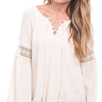 The New Boho Lace Up Peasant Top