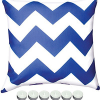 "Manual Woodworkers SLCBW Blue Chevron Indoor Outdoor Pillow 18""x18"" with 6-Pack of Tea Candles"