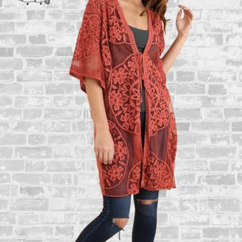 Embroidered Lace Kimono - Burnt Orange