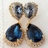 Navy blue and midnight blue Chandelier earrings, Drop earrings, Dangle earrings, Bridal earrings, Swarovski earrings, Gold or silver