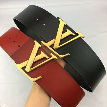 Inseva LV Louis Vuitton new women's simple and versatile fashion smooth buckle belt