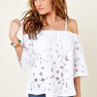 BB Dakota Say It With Flowers White Off The Shoulder Top