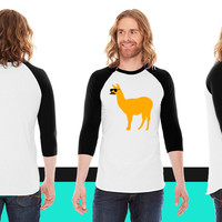 Funny llama with sunglasses and mustache American Apparel Unisex 3/4 Sleeve T-Shirt