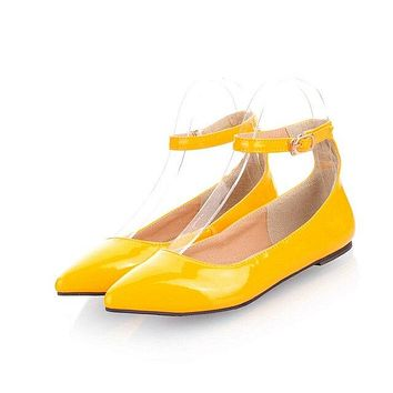 Bestseller! Women's Patent Leather Ankle Strap Flats