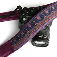Lucky Elephants Camera Strap. Purple Camera Strap.  DSLR SLR Mirrorless Camera Strap. Canon, Nikon Camera Strap. Camera Accessories