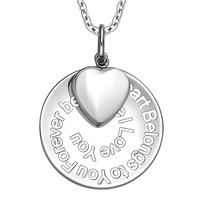 My Heart Belongs to You Forever Inspirational Pendant White Cats Eye Heart Charm Amulet 18 Inch Necklace