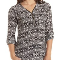 Zip-Up Pocket Tunic Top by Charlotte Russe