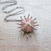 Pink Sea Urchin Sterling Silver Necklace Sea Anemone
