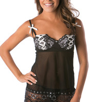 Silver ribbon babydoll classy lingerie