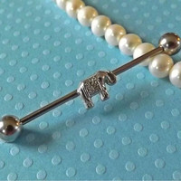 Tiny Elephant Industrial Barbell 14ga Body Jewelry Ear Jewelry Double Piercing