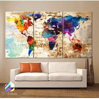 "LARGE 30""x60"" 3Panels Art Canvas Print Watercolor Texture Map decor"