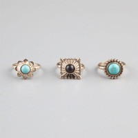 Full Tilt 3 Piece Stone Ring Set Gold