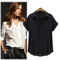 Loose Chiffon Shirt Collar Tops