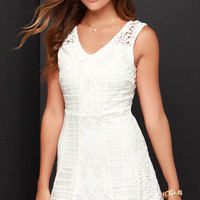 JOA Etched and Engraved Ivory Lace Dress