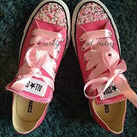 "Adult "" Pearl Bling"" converse in your choice of color & ribbon shoelace to match. Super cute for bridesmaids, brides, or just because"