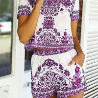 Crop Top with High Waist Shorts in Purple