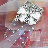 iPhone 5S Bling Case iPhone 3G Case Bling iPhone 3GS Case iPhone 4S Case iPhone 4 Rhinestone Case iPhone 5C Case iPhone 5 Case White Bow BW