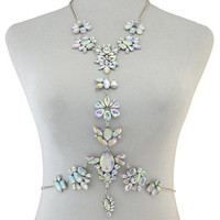 Faux Crystal Water Drop Body Chain