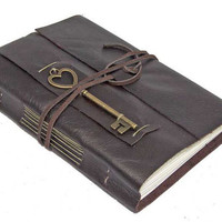 Brown Leather Journal with Heart Key Charm Bookmark