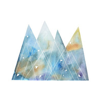 Large art abstract painting, mountains, watercolor painting, original geometric blue yellow