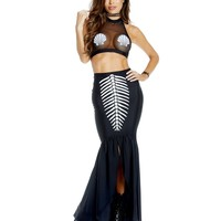 Mortal Mermaid Mesh Top & Maxi Skirt Costume