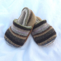 Infant Slippers, Baby Slippers, Upcycled Slippers, Toddler Slippers, Upcycled Baby Booties, Striped Booties, Brown Baby Shoes