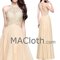 Halter O Neck Lace Champagne Long Prom Formal Dress Evening Gown with Open Back