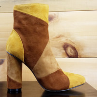 """Paw Mustard Brown Patchwork Fabric Ankle Boot - 4"""" Cylinder Heel"""