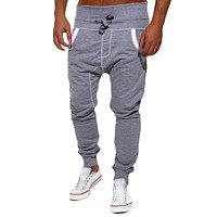 2017 New Brand Mens Clothes Solid Color Men Sweatpants Hip Hop Harem Pants Casual Pant Men Elastic Waist Trousers