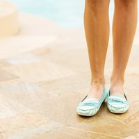 Turquoise Stripe Boat Shoes