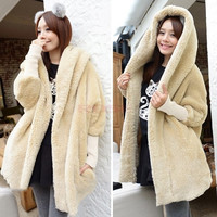 Women's Batwing Sleeve Ladies Loose Cloak To Keep Warm Thickened Plush Coat Hooded Jacket Ski/Snow Long Coats One Size (Color: Apricot) = 1945906308