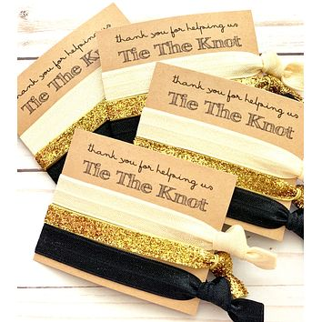 Thank you for helping us tie the knot Wedding Hair Tie Favors