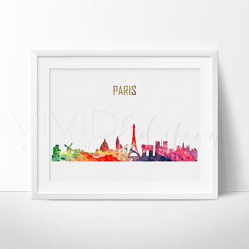 Paris, France Skyline Watercolor Art Print