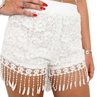 Women's Lace Hollow Out High Waist Short Summer Casual Shorts