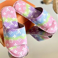 Lv Louis Vuitton slippers light non-slip J gradient color printed sandals black colorful Pink Purple Cyan Shoes