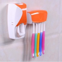 Plastic Wall Mount Toothpaste Dispenser Toothbrush Holder Bathroom Shelves Stand Automatic Squeeze Toothpaste Toothbrush Rack