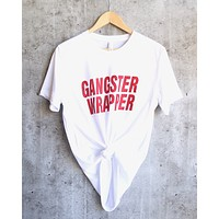 Distracted - Gangster Wrapper Christmas Unisex Triblend Graphic Tee in White/Red