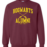 Hogwarts Alumni Crewneck Sweatshirt Printed Sweatshirt Mens Womens Ladies Unisex Funny Harry Potter Wizard Magical DT-006