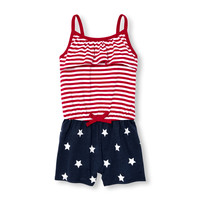 Toddler Girls Americana Sleeveless Stars And Stripes Romper | The Children's Place