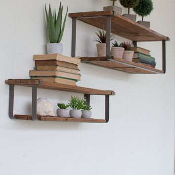 Recycled Wood and Metal Wall Shelves -- Set of 2