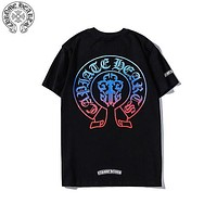 Chrome hearts 2019 new colorful classic horseshoe gradient short-sleeved T-shirt Black