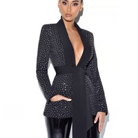 Visionary Crystal Embellished Black Blazer Jacket