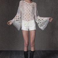 Alexis Aniko Silk Crochet Top with Bell Sleeve in Cream
