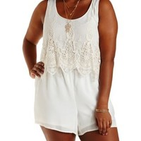 Plus Size Ivory Embroidered Mesh Flounce Romper by Charlotte Russe