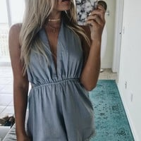 The Will To Chill Blue Lace Romper